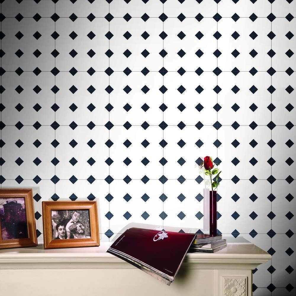 500cm JY ART Adhesivo para Baldosas de Mosaico 25 Piezas 20x20cm Azulejos engomadas de la Pared de l/ámina Adhesiva Impermeable Negro y Blanco Cuarto de ba/ño Cocina Etiquetas,20