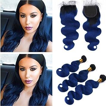 Amazon Com Tony Beauty Hair Black And Dark Blue Ombre Peruvian