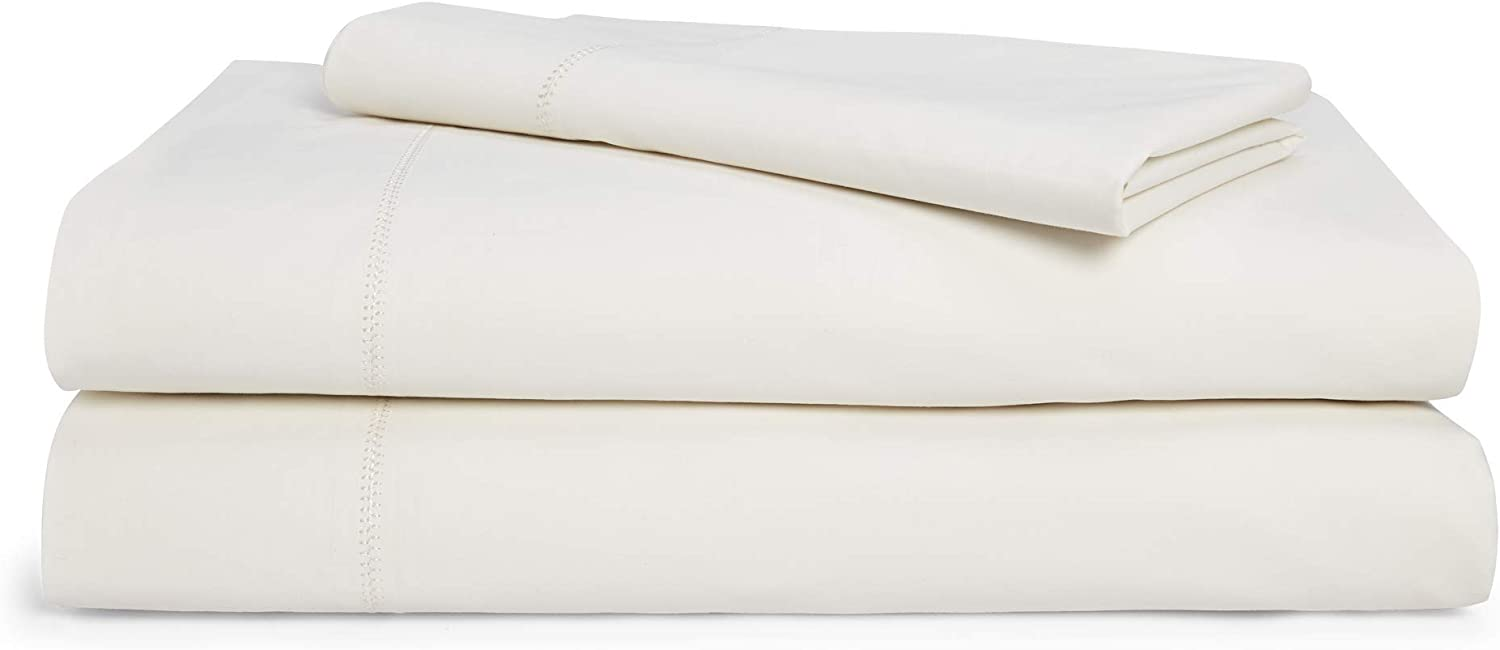 Chaps Home Rivington 100% Cotton Solid Brushed 200 Thread Count Bed Sheet Set-15 Inches Deep Pocket (King), Morning Cream