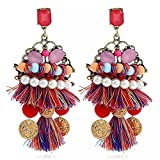 jiux Women Earrings National Style Bohemian Style Handmade Classic Retro Tassels Eardrop