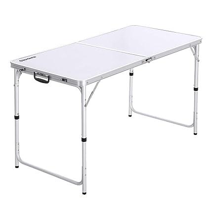 Campingtisch Amazon.Songmics Campingtisch Klapptisch 120 Cm Lang Gartentisch Mit Stabilen Aluminium Beinen Zusammenklappbarer Campingtisch Mit Griff Zum Leichten