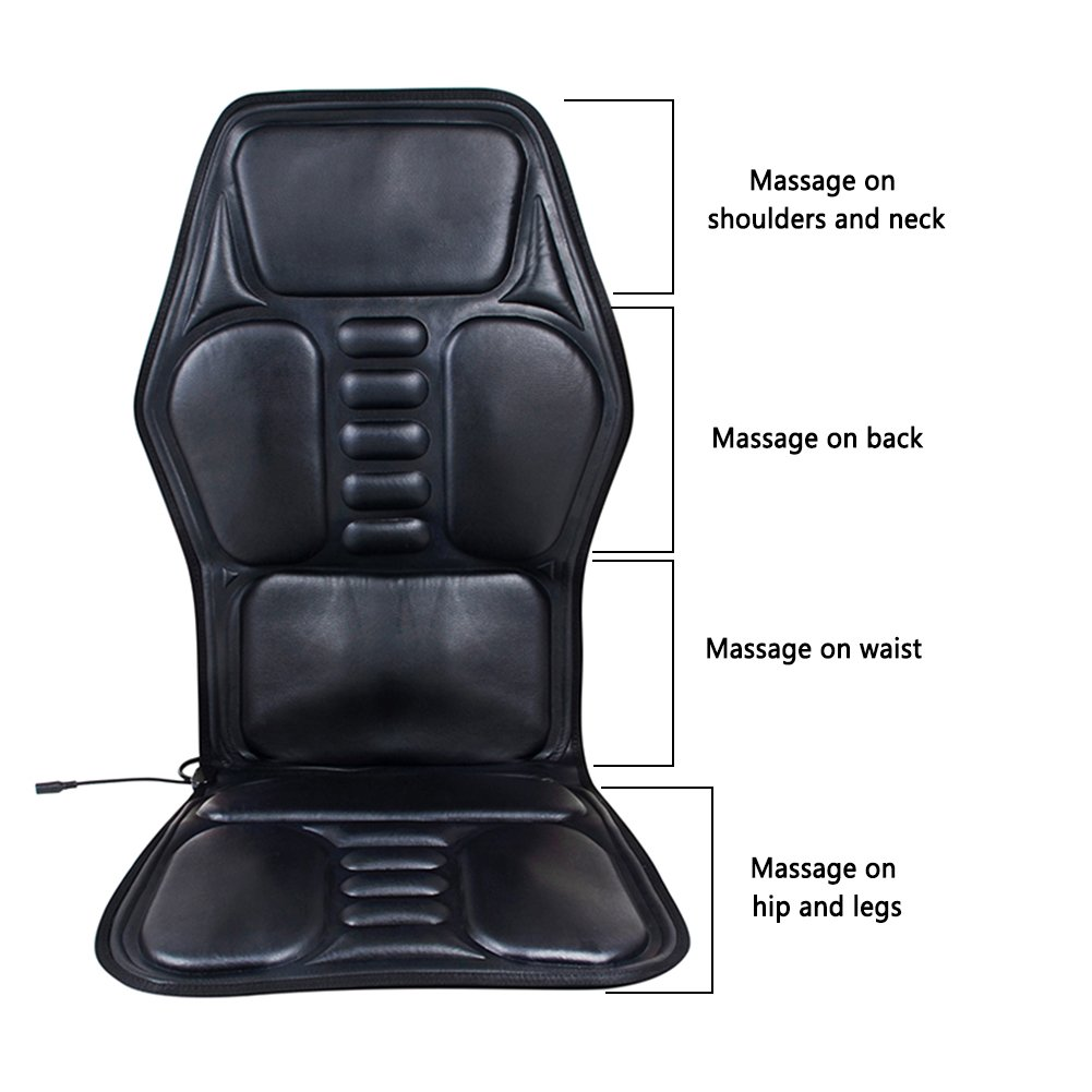 Car Massager Seat Cushion With Heat, 9 Groups Of Heating Massage Pads Car Heated Massage Mats Multi-Function Cushions Seats For Car/Home/Office Chair blue--net