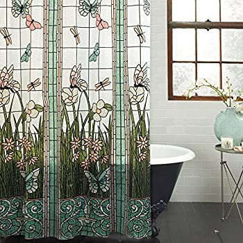Unbranded PEVA Stained Glass Meadow Shower Curtain Bath Decor Butterfly Flower Aqua