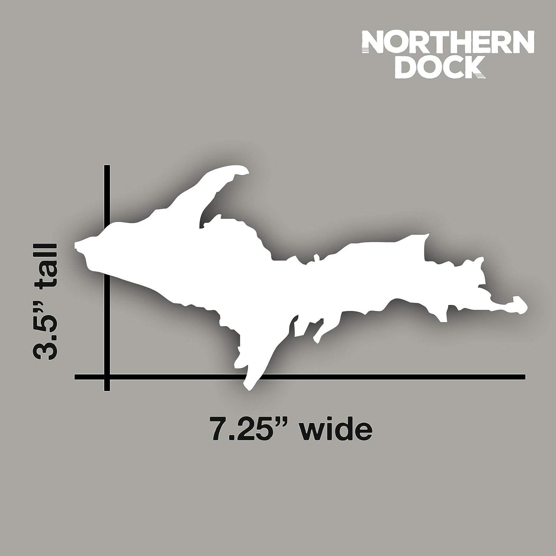 Northern Dock Upper Peninsula Michigan Sticker Car Window Decal Vinyl Bumper Sticker 7.25 Wide White