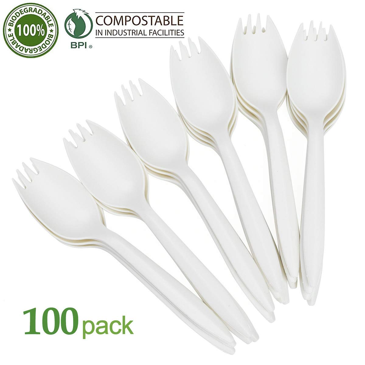 KAISHANE 100% Compostable Sporks - 100 Pieces Disposable Cutlery Set Biodegradable Spork Eco friendly Durable and Heat Resistant Plastic Forks and Spoon, wrapped bulk White by KAISHANE