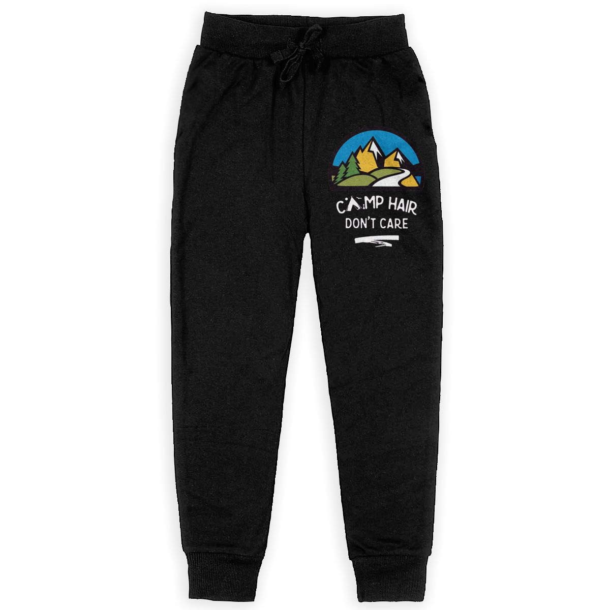 MatthewConnersw Teenage Camping Hair Dont Care Teen Sweatpants Active Fleece Jogger Back Pocket Black