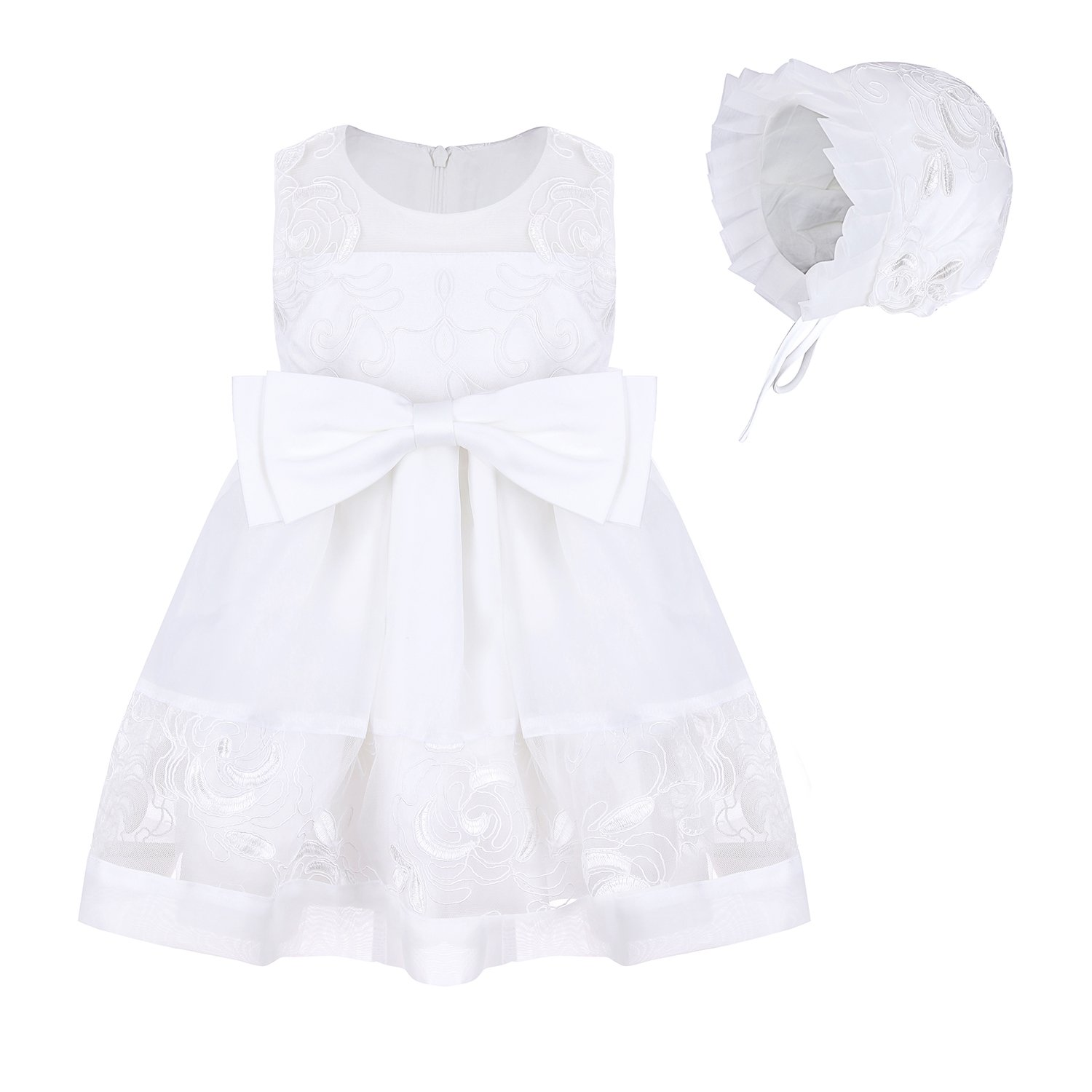 Monimo Baby Girl Dress Lace Bow Christening Gown Princess Dress