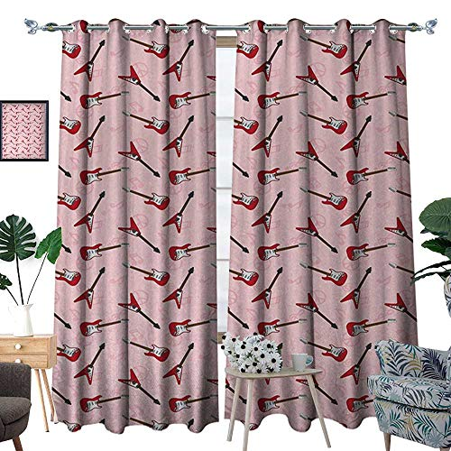 (RenteriaDecor Guitar Window Curtain Fabric Different Electric Guitar Silhouettes on Pink with Music and Peace Signs Drapes for Living Room W84 x L96 Pale Pink Maroon Brown)