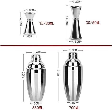 Set shaker da cocktail in acciaio INOX con colino cucchiaio da bar 5 pezzi Kentop misurino versatore da 550 ml pinza per ghiaccio