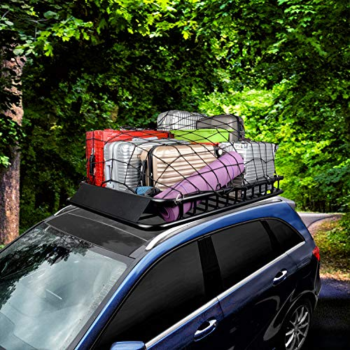 for Rooftop Cargo Carrier Roof Rail Rack Hitch Basket SUV CZC AUTO 22x38 Black Latex Bungee Cargo Net Strech to 44x76 Luggage Netting with 2X2 Small Mesh and 12 Adjustable Plastic Hooks
