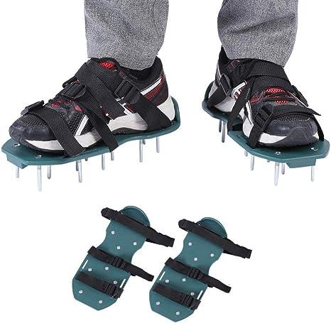 Zmin 1 Par de Sandalias Aireador de Césped Jardín Yarda Cultivador de la Hierba Aflojamiento de Zapatos de Pinchos Herramienta de Jardinería Zapatos de Uñas de Jardín Herramienta,3straps: Amazon.es: Deportes y aire