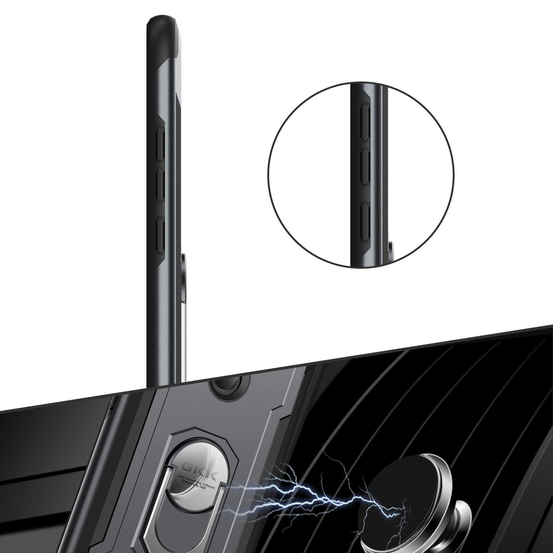 hard pc Harte Schale 360 Grad drehender Metallring Kickstand Tasche mit Magnetic Autohalterung Layeri kompatibel mit Honor View 20 H/ülle,2 in1 Silikon Handyh/ülle D/ünn rubber tpu