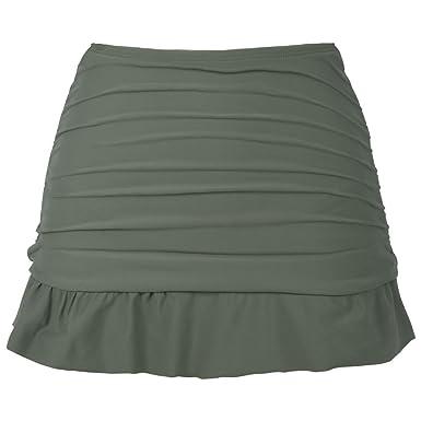 50cd77aae23e Hilor Women's High Waisted Swim Skirt Shirred Skirted Swim Bottom Ruffle  Tankini Bottom Army Green 6