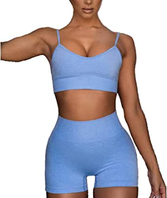 MANON ROSA Yoga Outfits for Women Seamless Suits 2 Piece Set Short Legging Sports Bra Workout Clothes Fitness Sportswear