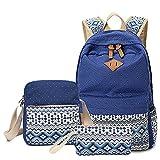 Abshoo Canvas Dot Backpack Cute Lightweight Teen Girls Backpacks School Shoulder Bags (Navy)