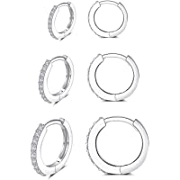 Silver Huggie Hoop Earrings for Women, 3 Pairs Tiny Hypoallergenic Sterling Silver Cartilage Hoops | 14k Gold Small…