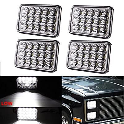 (4pcs) Dot approved 4x6 inch LED Headlights Rectangular Replacement H4651 H4652 H4656 H4666 H6545 for Peterbil Kenworth Freightinger Ford Probe Chevrolet Oldsmobile Cutlass by LX-LIGHT
