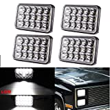 (4pcs) 4x6 inch LED Headlights Rectangular Replacement H4651 H4652 H4656 H4666 H6545 for Peterbil Kenworth Freightinger Ford Probe Chevrolet Oldsmobile Cutlass