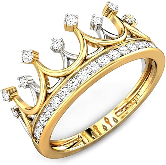 Yellow White Rose Bezel Diamond Crown Tiara 14k Yellow Gold Ring Fine Jewelry