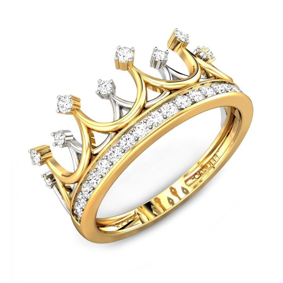 0.21 (ctw) 14K gold & diamond princess crown ring, IGI certified, I-J, SI1-SI2 (1/5 ctw)