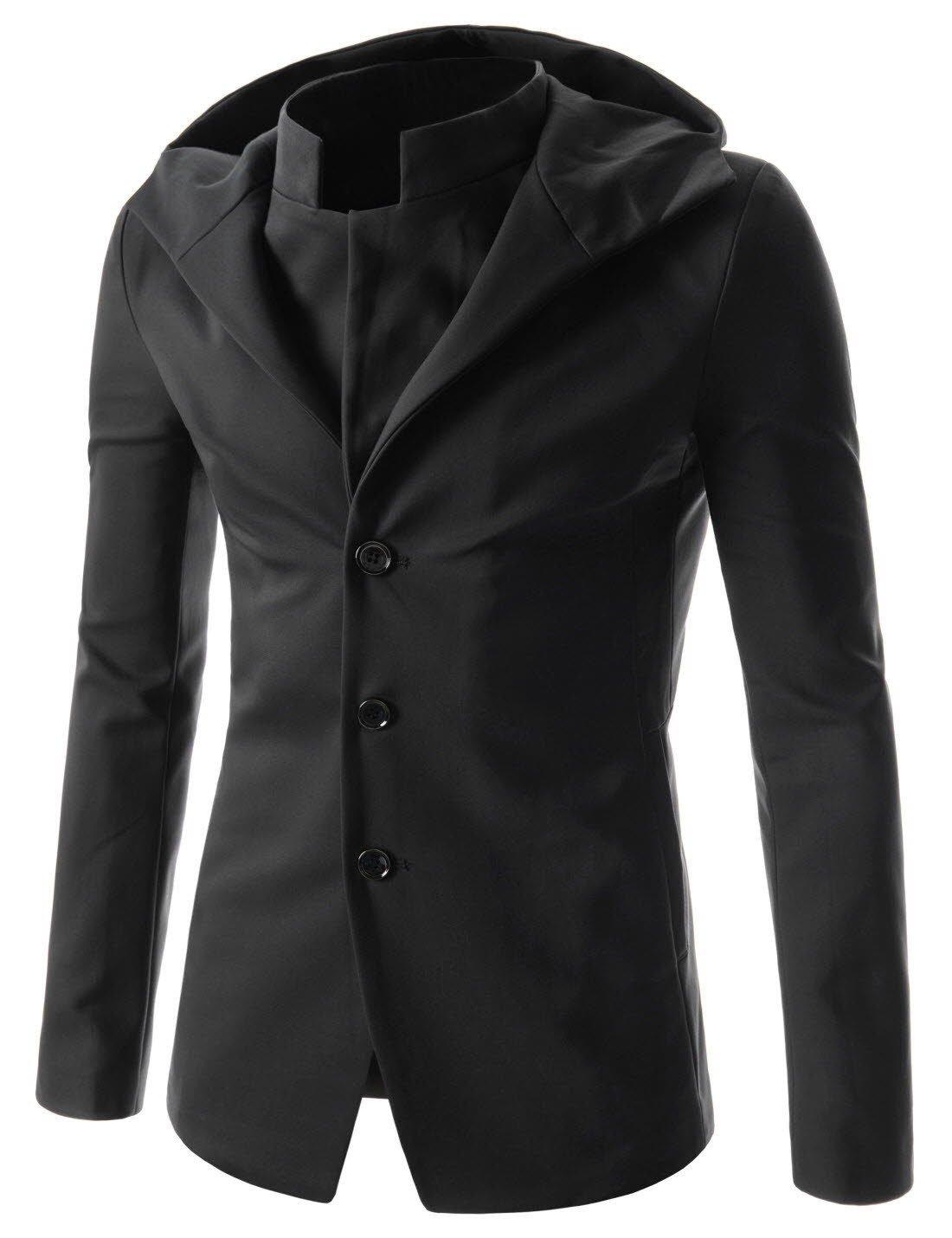 (NJK151) Mens Slim Fit Hooded Blazer Stylish Double Collar Sports Coat Jacket BLACK US XS(Tag size L)