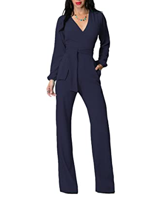 f31fffc95cf Amazon.com  IyMoo Womens Jumpsuits Elegant Button Loose Long Wide Leg  Jumpsuits Romper Royal Blue Medium  Clothing