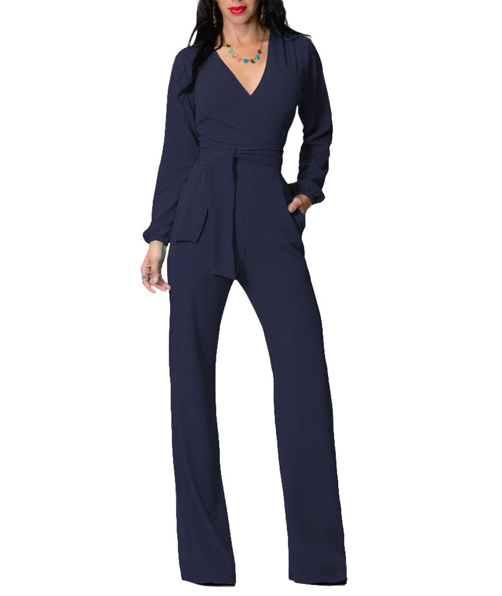 IyMoo Women's Sexy Deep V Neck Sleeveless Wide Leg Loose Jumpsuits Rompers Royal Blue X-Large