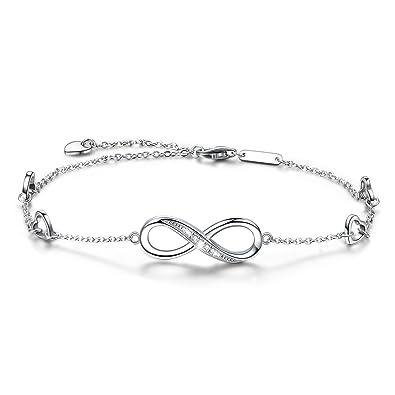 52e93fa80b606 Infinity Ankle Bracelet For Women, 925 Sterling Silver Charm Adjustable  Anklet, Large Bracelet