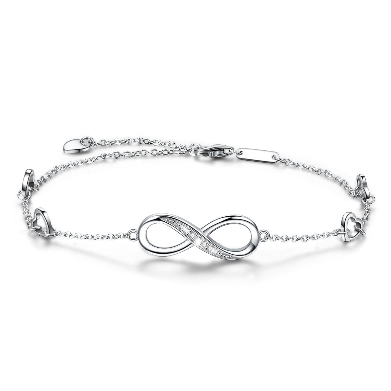 OneSight Infinity Ankle Bracelet for Women, 925 Sterling Silver Charm Adjustable Anklet, Large Bracelet (White-Gold-Plated-Sterling-Silver)