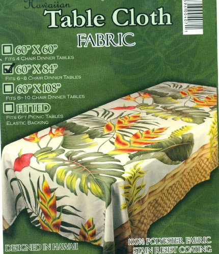 Hawaiian Fabric Tablecloth 60-inch By 84-inch by Kahle Living