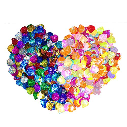 - 840 Pieces Seashell Sequins and Spangles for Children's Handmade DIY, for Craft Wedding Decoration, Creative Color Beads Sequins Greeting Card Decoration Gold Foil Iron Slices