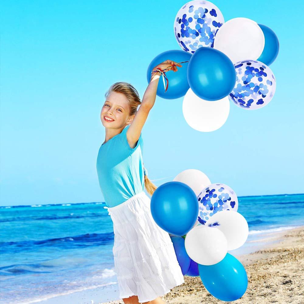 SPECOOL Ballons en Latex Remplis De Confettis Ballon Joyeux Anniversaire Bleu Lettres Banni/ère Feuille /Étoile Coeur avec Rubans pour Les Fournitures de f/ête de d/écoration Bleu