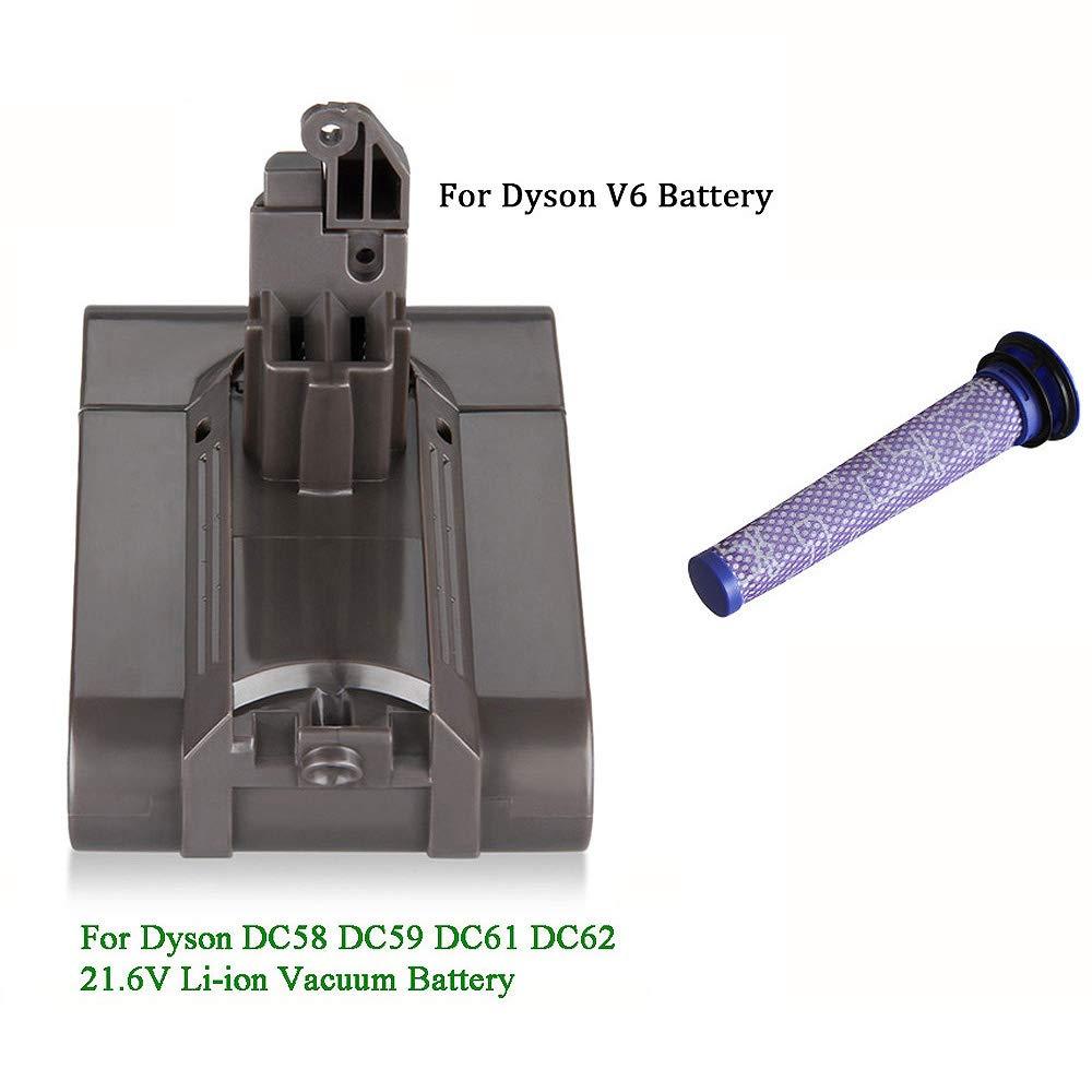 TOOGOO Filter V6 21.6V 3000Mah Li-Ion Battery for Dyson V6 Battery for Dc58 Dc59 Dc61 Dc62 Vacuum Cleaner Sv09 Sv07 Sv03 Sv04 Sv06