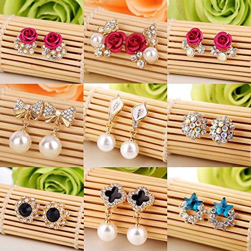 usongs Korean fashion sweet elegant pearl earrings girls earrings bride earrings red bauble