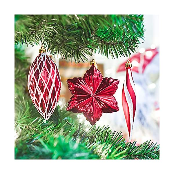 Valery Madelyn Palle di Natale 100 Pezzi di Palline di Natale, 3-5 cm Decorazione Tradizionale Rossa e Bianca Infrangibile con Palle di Natale per la Decorazione Dell'Albero di Natale 4 spesavip