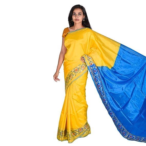 c0cfa66a3 Uppada Pattu Saree(Uppada pure pattu saree ikath border & contrast plain  blouse): Amazon.in: Clothing & Accessories