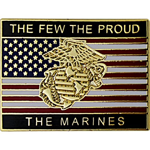 """The Few The Proud The Marines American Flag 1"""" Lapel Pin"""