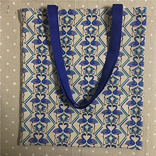 Yile Thin canvas Eco shopping Tote borsa a tracolla stampa blu Swan lovers L301