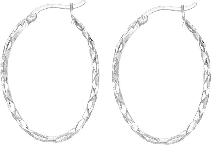 Sterling Silver Tubular Hoop Earrings 30mm