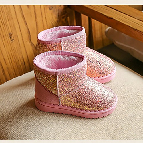 BININBOX Girls Bling Sequins Snow Boots Warm Cotton Shoes Winter Boots (6.5 M US Toddler, Pink) by BININBOX (Image #3)