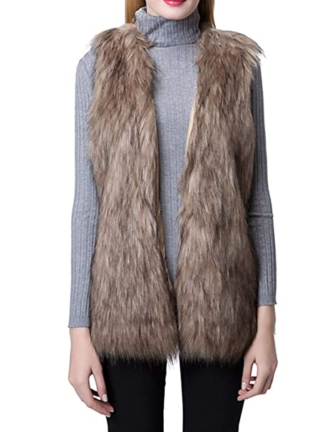 Escalier Women S Faux Fur Vest Waistcoat Sleeveless Jacket