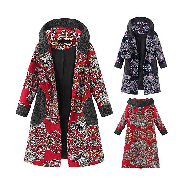 Clearance Women Hooded Coat FEDULK Winter Warm Jumper Vintage Casual Thick Pullover Outwear