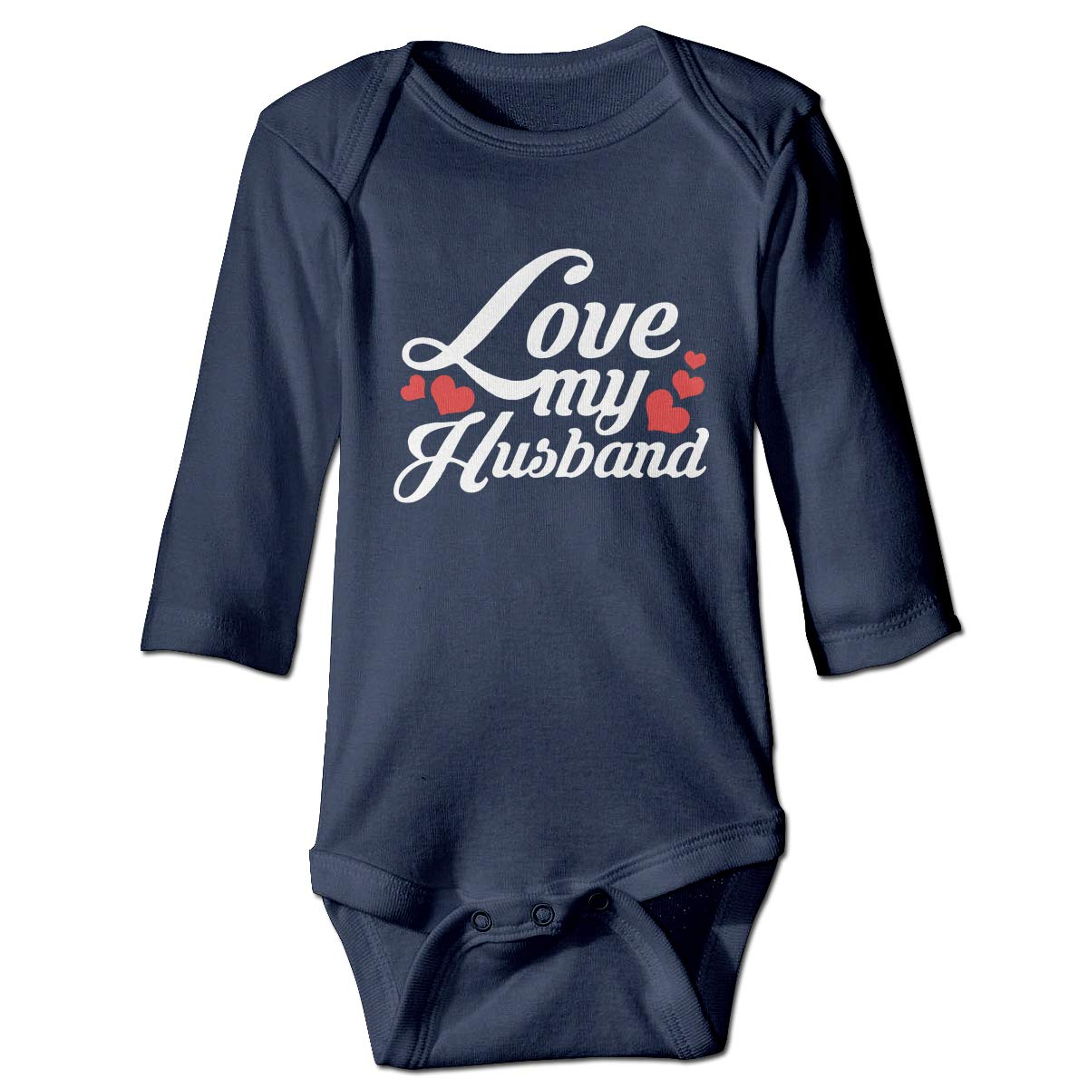 Infant Baby Girls Long Sleeve Jumpsuit Romper I Love My Husband-1 Unisex Button Playsuit Outfit Clothes