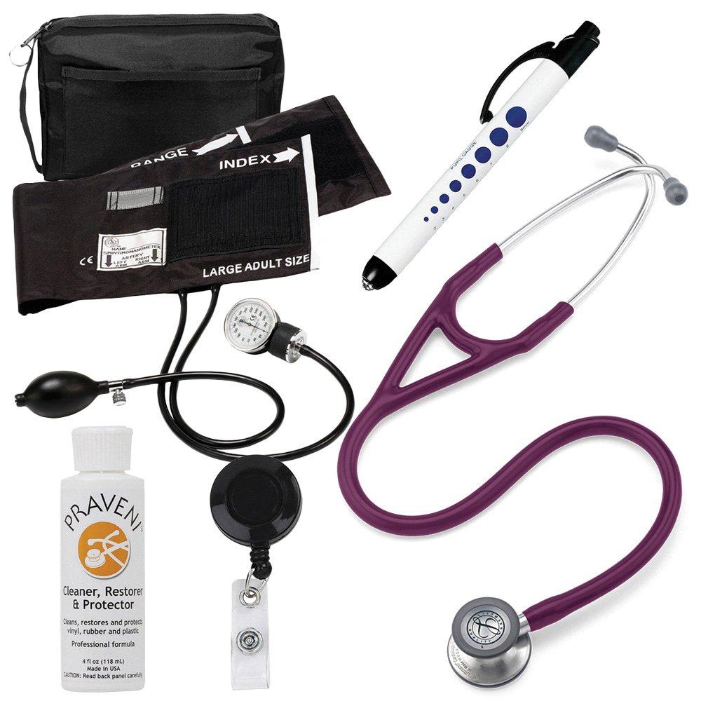 3M Littmann Cardiology Iv™ Stethoscope With Prestige Medical Aneroid Sphygmomanometer Carrying Case Pupil Gauge Quick Plum