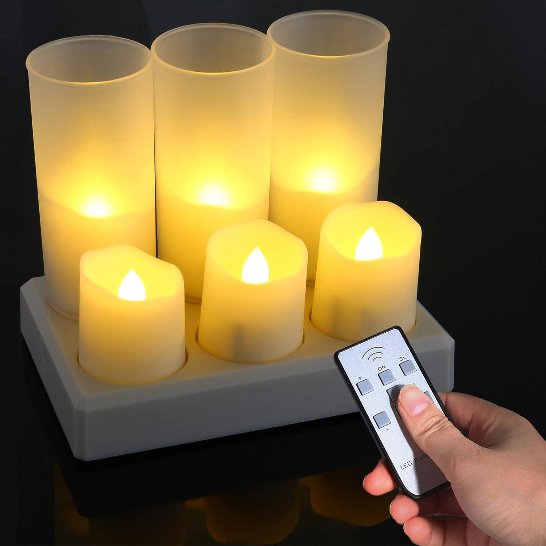 Ymenow mando a distancia Velas LED recargables temporizador y tazas esmeriladas para Navidad casa bodas fiestas decoraci/ón 6 unidades sin llama velas parpadeantes con estaci/ón de carga