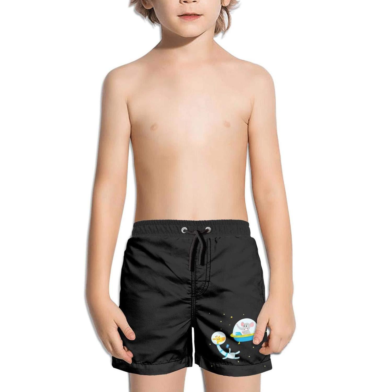 Trum Namii Boys Quick Dry Swim Trunks Cat Astronaut Balloon and Hippo Shorts