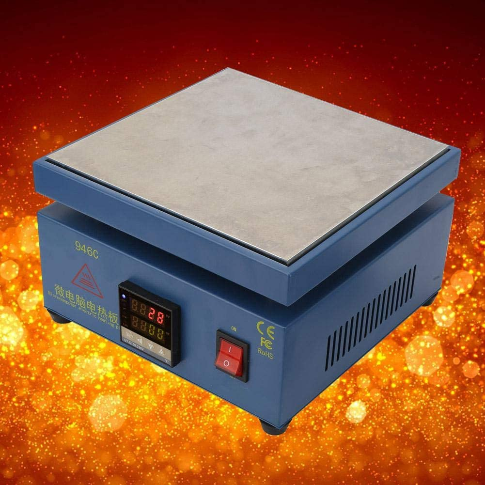 LED Microcomputer Elektrische Kochplatte L/ötvorw/ärmstation Schwei/ßer Elektronische Digital-LCD-Kochplatte zum Ersetzen des Telefonbildschirms EU plug L/ötstation