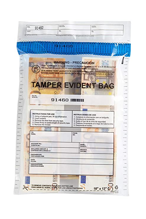 """USPACKSMART Deposit Bags for Cash Handling or Bank Deposits, Level 5 of Security Tape. Size 10""""x13"""" Clear (100 Bags x Package) Ref: 812-00"""