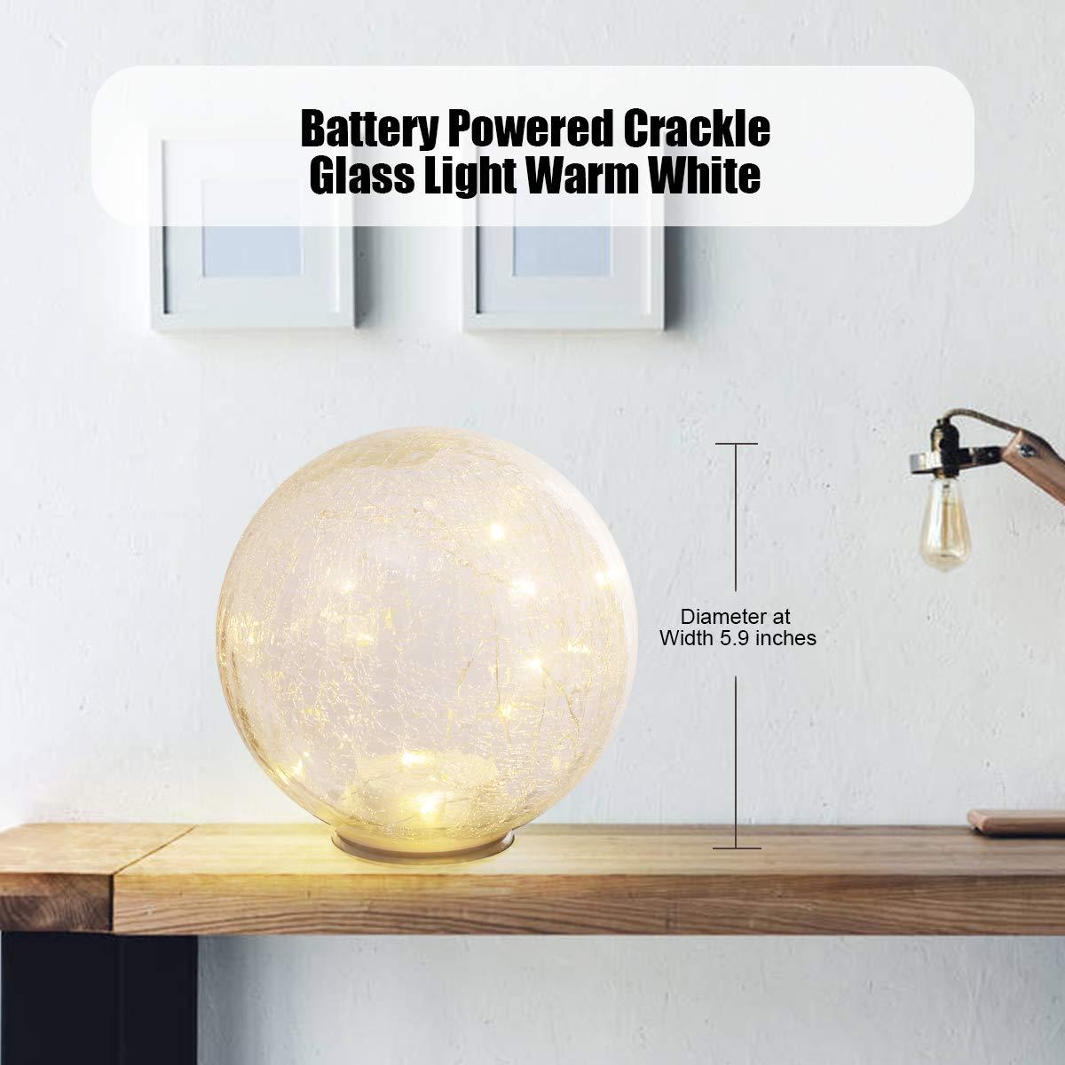 Glass Ball LED Light Wireless Crackle Glass Light Warm White Night Lamp for Bedroom Living-room Dresser Nursery Kitchen Garden Restaurant Modern Glass Decoration Glass Craft