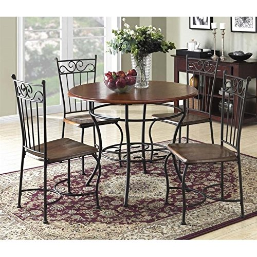Wood and Metal Cafe-Style Dinette Set for Kitchen or Living Room (Round Dinette)